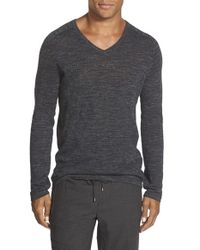 Vince | Gray Jaspe Wool & Linen V-neck Sweater for Men | Lyst