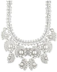 Givenchy | White Silver-tone Faux Pearl And Crystal Collar Necklace | Lyst