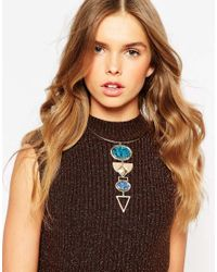 ASOS - Blue Mixed Shapes Choker Necklace - Lyst