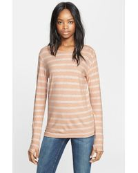 Enza Costa | Natural Stripe Cotton & Cashmere Tee | Lyst