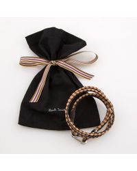Paul Smith - Men's Black And Taupe Leather Wrap Bracelet for Men - Lyst