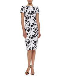 Carolina Herrera   Black Short-Sleeve Printed Sheath Dress   Lyst