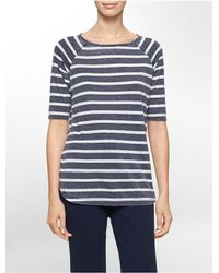 Calvin Klein | Blue White Label Performance Striped High Low Short Sleeve Top | Lyst