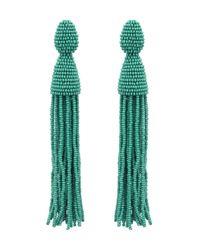 Oscar de la Renta | Green Jade Classic Long Tassel Earrings | Lyst