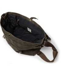 J.Crew - Green Abingdon Waxed Cotton-Canvas And Leather Messenger Bag for Men - Lyst