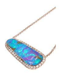 Kimberly Mcdonald | Blue 18karat Rose Gold Boulder Opal and Diamond Necklace | Lyst