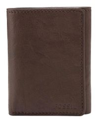 Fossil | Brown Ingram Leather Tri-fold Wallet for Men | Lyst