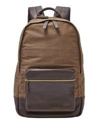 Fossil | Brown 'estate' Canvas Backpack for Men | Lyst