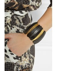 Kenneth Jay Lane - Black Wood and Goldplated Bracelet - Lyst
