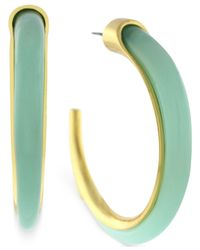 Vince Camuto | Metallic Gold-Tone And Aruba Blue Stone Hoop Earrings | Lyst