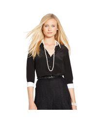 Ralph Lauren | Black Silk Crepe Button-down Shirt | Lyst