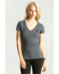 True Religion | Gray Logo Womens Tee | Lyst