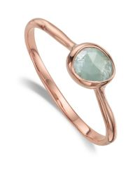 Monica Vinader | Metallic Siren Small Aquamarine Stack Ring | Lyst