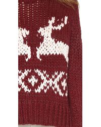 Free People | Red Dancer And Prancer Sweater | Lyst