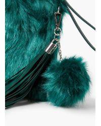 Mango | Green Faux Fur Textured Clutch | Lyst