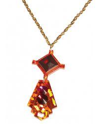 Matthew Williamson | Brown Orange Geometric Pendant Necklace | Lyst