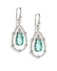 Judith Ripka - White Sapphire Green Drop Sterling Silver Earrings - Lyst