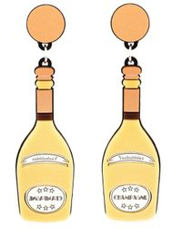 Yazbukey | Orange Champagne Bottle Earrings | Lyst