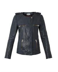 Étoile Isabel Marant - Blue Bacuri Collarless Navy Leather Jacket - Lyst