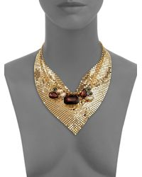 ABS By Allen Schwartz - Metallic Some Like It Hot Faceted Mesh Bib Necklace - Lyst