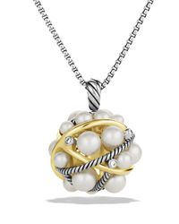 David Yurman | Metallic Pearl Crossover Small Cluster Pendant With Diamonds And Gold On Chain | Lyst