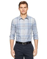 Calvin Klein | Blue Modern Fit Large Scale Plaid Sportshirt for Men | Lyst
