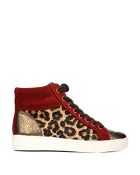 Sam Edelman - Red 'britt' Leopard Calf Hair Leather Combo Sneakers - Lyst