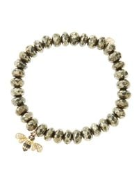 Sydney Evan - Metallic 8Mm Faceted Champagne Pyrite Beaded Bracelet With 14K Gold/Diamond Bee Charm (Made To Order) - Lyst