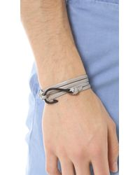 Miansai - Gray Hook Black Leather Wrap Bracelet for Men - Lyst
