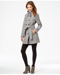 DKNY | Gray Double-breasted Belted Peacoat | Lyst