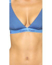 Calvin Klein | Blue Dual Tone Triangle Bra - Steel Grey/ashford Grey | Lyst