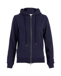 Sunspel | Blue Women's Loopback Cotton Hoody With Zip-front | Lyst
