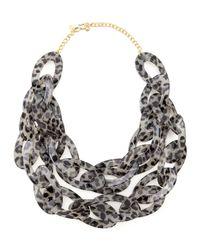 Kenneth Jay Lane | Blue Double-strand Leopard-print Enamel Necklace | Lyst