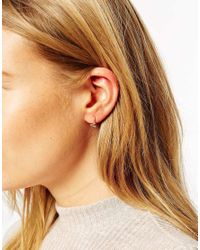ASOS - Metallic Rose Gold Plated Sterling Silver Mini Triangle Hoop Earrings - Lyst