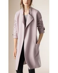 Burberry - Natural Wool Belted Wrap Coat - Lyst