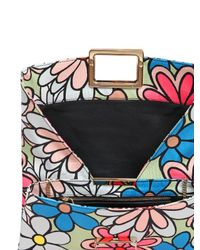 Roger Vivier - Multicolor Ines Flower Printed Cotton Canvas Clutch - Lyst