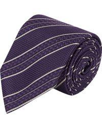 Brioni - Purple Diagonal Stripe Neck Tie for Men - Lyst