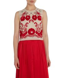 Needle & Thread - Embroidered Ribbon Roses Crop Top - Lyst