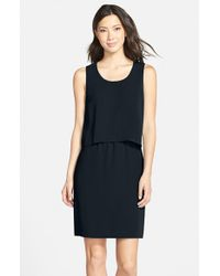 Marc New York | Black Sleeveless Crepe Popover Dress | Lyst
