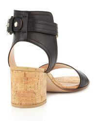 Gianvito Rossi - Black Leather Cork Block-heel Sandal - Lyst