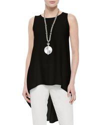 Eileen Fisher - Black Sleeveless High-low Silk Crepe Tunic - Lyst