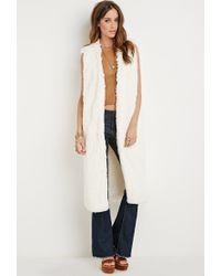 Forever 21 | Natural High-slit Faux Fur Vest | Lyst