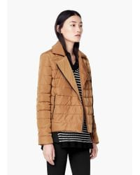 Mango | Brown Side-zip Quilted Coat | Lyst