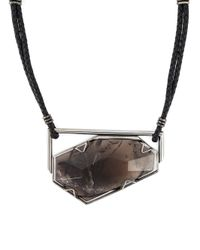 Lanvin | Black Quartz Pendant Necklace | Lyst
