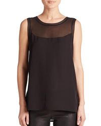 VINCE | Black Sheer-inset Sleeveless Top | Lyst