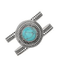 Lucky Brand | Metallic Silver-tone Reconstituted Turquoise Cuff Bracelet | Lyst