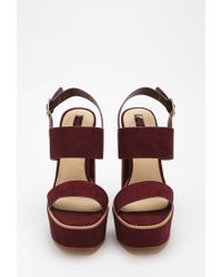 Forever 21 - Purple Faux Suede Strappy Sandals - Lyst