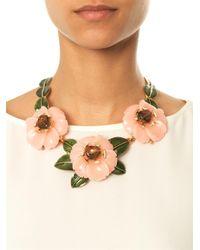 Oscar de la Renta | Pink Peonyembellished Necklace | Lyst