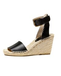 Soludos - Black Open Toe Leather Wedge Sandal - Lyst
