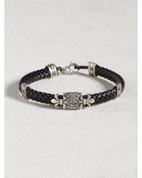 John Varvatos | Black Braided Cuff With Silver Detail for Men | Lyst